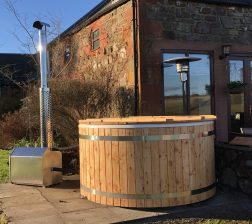 Outfield/Pitfield's wood burning hot tub for 6