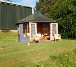 Summerhouse and croquet at Outfield Farm